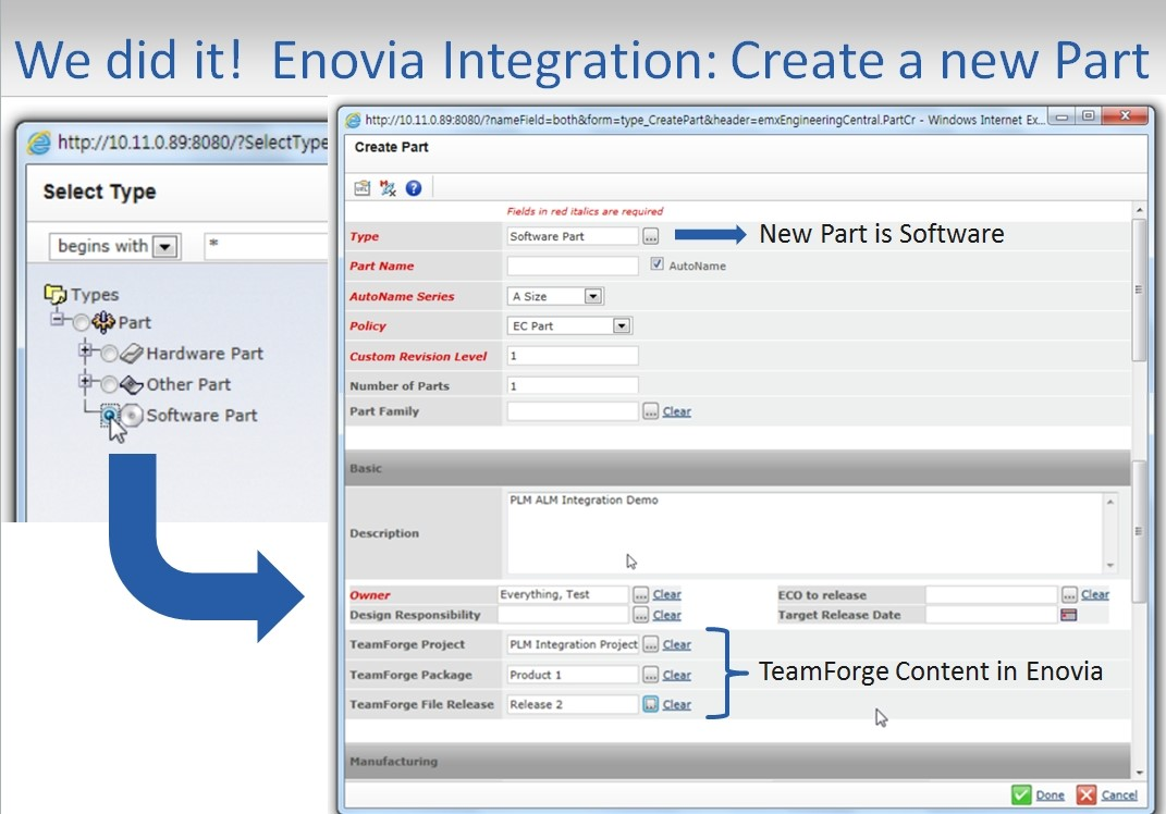 Enovia Intergaration ALM is a subset of PLM